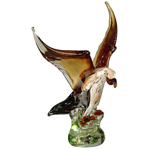 "Bald Eagle 13 3/4"" High Brown and Amber Art Glass Statue"