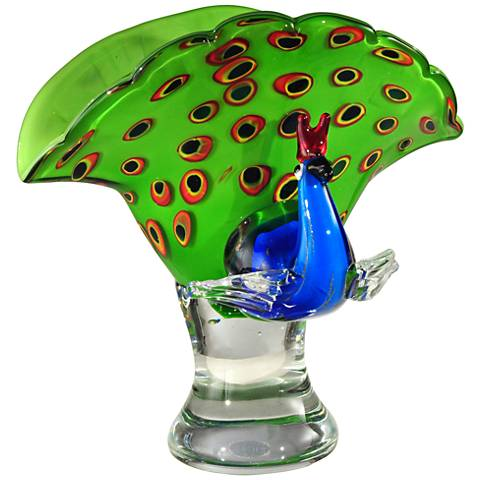 "Dale Tiffany Peacock 10 1/4""H Multi-Color Glass Figurine"