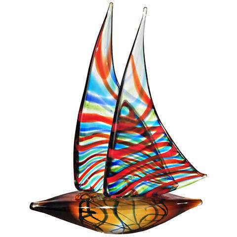 "Chimera 13 1/2"" High Multi-Color Art Glass Sculpture"