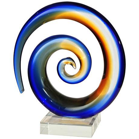 """Mystification 8"""" High Multi-Color Blue Glass Figurine"""