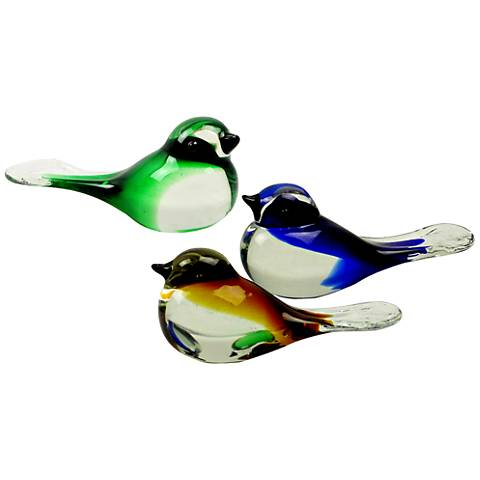 "Dale Tiffany Bird 5 1/2""W 3-Piece Art Glass Figurine Set"
