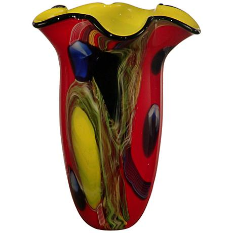 "Dale Tiffany Trevor Multi-Color Red 13"" High Art Glass Vase"