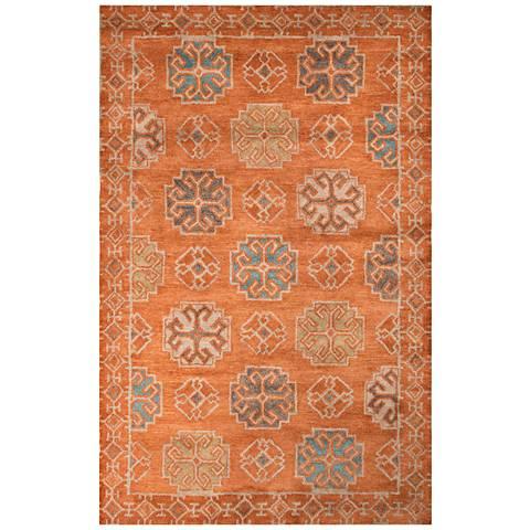 Jaipur Pendant Orange and Blue Wool Area Rug