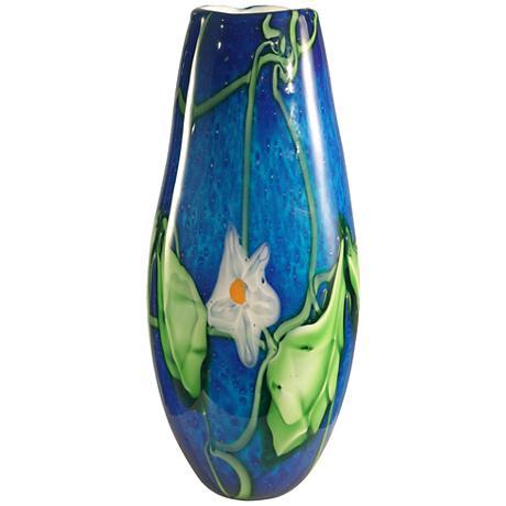 """Flower Leaf Multi-Color Blue 16 1/2"""" High Art Glass Vase"""