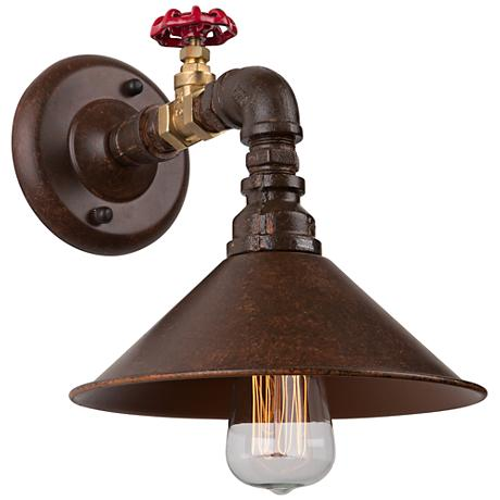 """Artcraft Revival 8 1/2"""" High Brown and Rust Wall Sconce"""