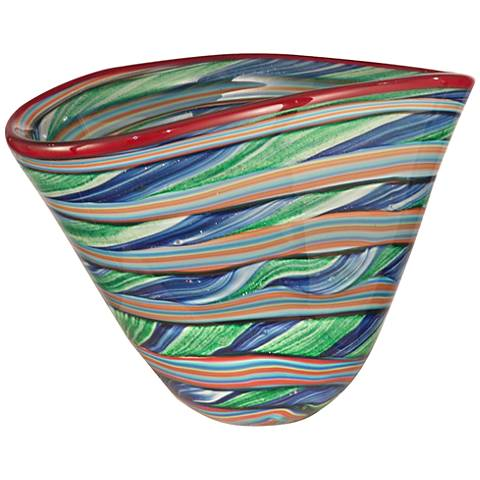 Dale Tiffany Ribbons Striped Multi-Color Art Glass Bowl