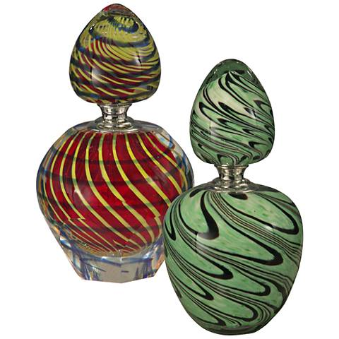 Calypso Swirl Multi-Color 2-Piece Perfume Bottles Set