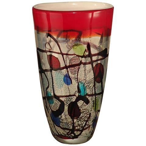 """Dale Tiffany Valiejo Multi-Color 10 1/2""""H Art Glass Vase"""