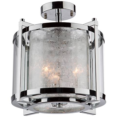 "Artcraft Crackled Ice 13"" Wide Chrome 3-Light Ceiling Light"
