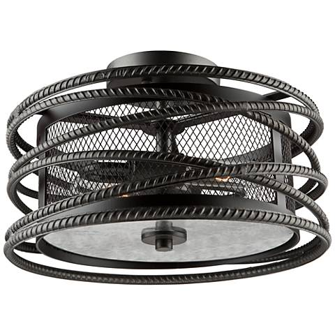 "Artcraft Rebar Studio 14 1/2""W Dark Java Brown Ceiling Light"