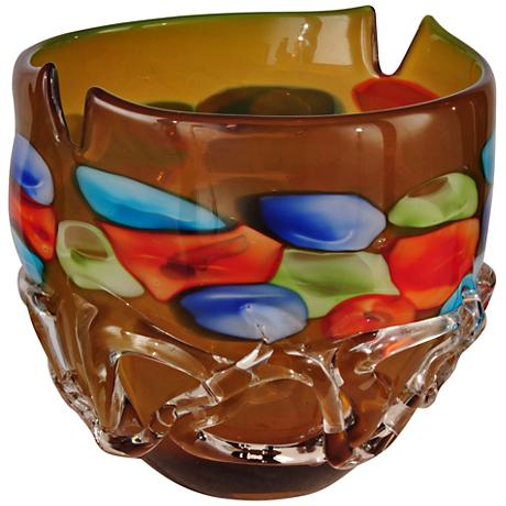 Dale Tiffany Tahoe Open Multi-Color Amber Art Glass Bowl