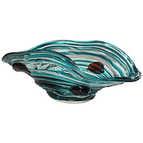 Dale Tiffany Cannon Rock Multi-Color Blue Art Glass Bowl