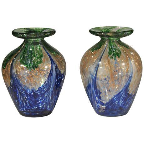 "Mardi Gras Multi-Color 2-Piece 5"" High Art Glass Vases Set"