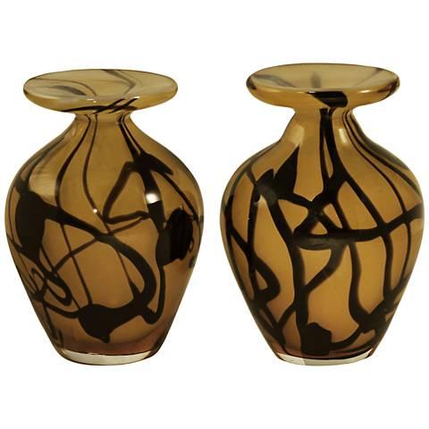 """San Luis Multi-Color Tan 2-Piece 5""""H Art Glass Vases Set"""