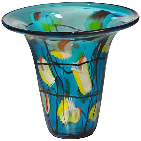 "Imagination Multi-Color Blue 9 1/2"" High Art Glass Vase"