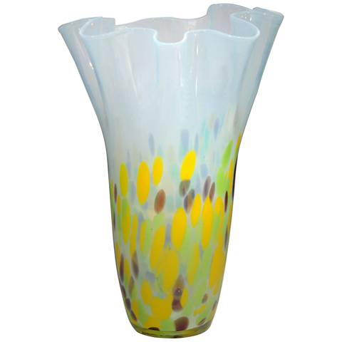 "Dale Tiffany Ivy Flow Multi-Color 13 3/4""H Art Glass Vase"