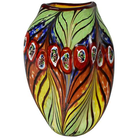 """Caicos Peacock Feather Multi-Color 12""""H Art Glass Vase"""