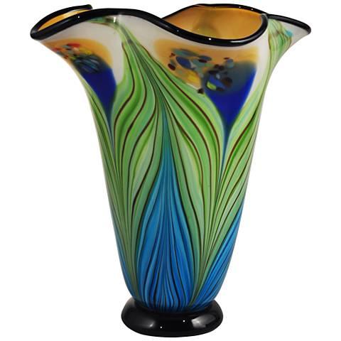 "Dale Tiffany Kalmia Multi-Color 12 3/4""H Art Glass Vase"