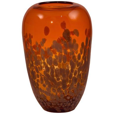 "Vesuvius Orange and Gold 11 1/2"" High Art Glass Vase"