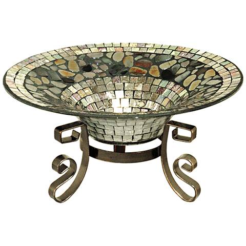 Riverwalk Silver Decor Mosaic Multi-Color Art Glass Bowl