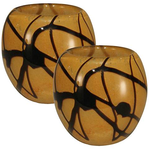 San Luis Multi-Color Amber 2-Piece Votive Candle Holder Set