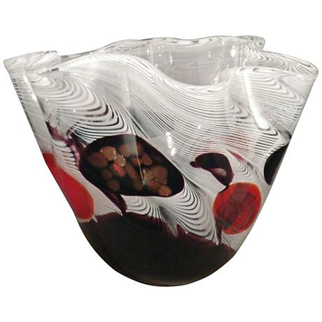 Dale Tiffany Feathers Multi-Color White Art Glass Bowl