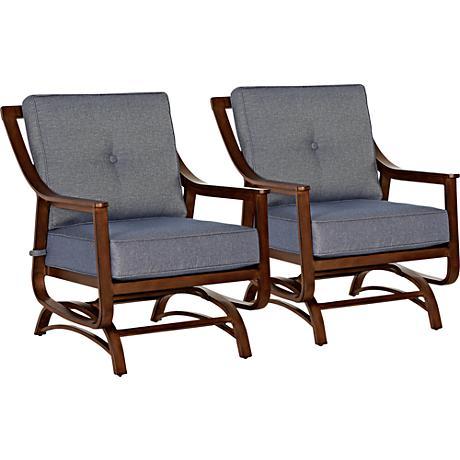 Trisha Yearwood Denim Outdoor Platform Rocker Chair Set of 2