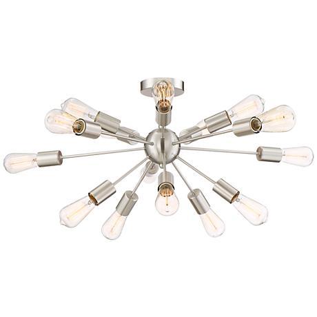 "Possini Euro Hemingson 28""W Brushed Steel Ceiling Light"