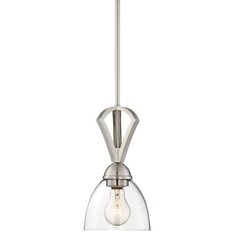 """Milbury 6""""W Brushed Nickel and Clear Glass Mini Pendant"""