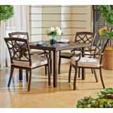 Trisha Yearwood Beige Coffee Outdoor Dining Chair Set of 4