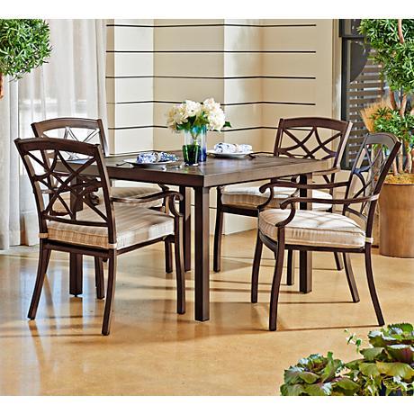 Trisha Yearwood Beige Coffee Outdoor Dining Chair Set of 4