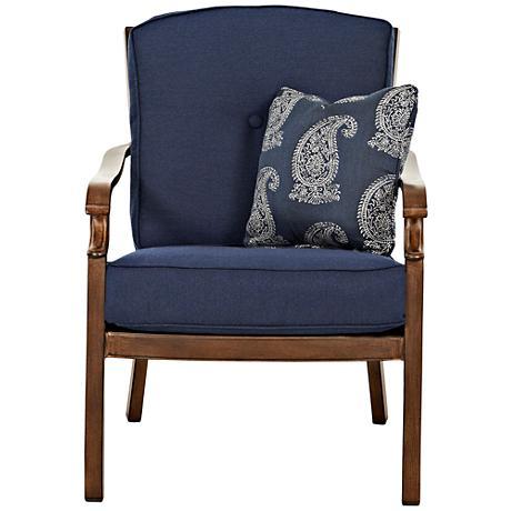 Trisha Yearwood Coffee and Denim Fabric Outdoor Armchair