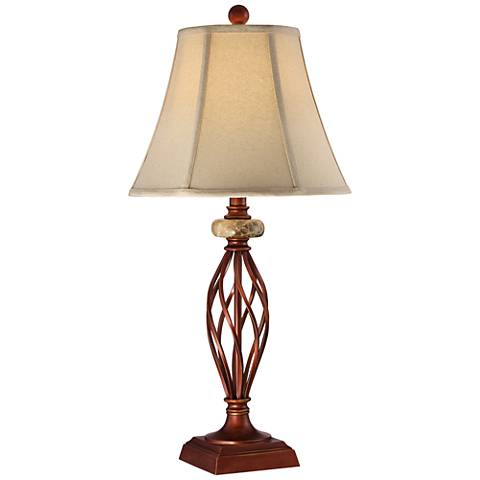 Serge Iron Finish Twist Table Lamp with Faux Marble Accent