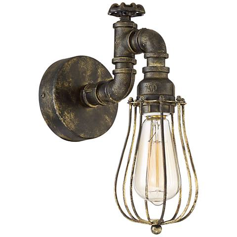 """Galena 12"""" High Golden Bronze Pipe Wall Sconce"""