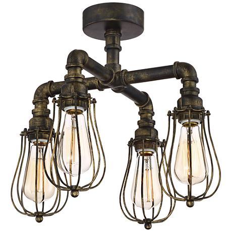 "Galena 17"" Wide 4-Light Golden Bronze Pipe Ceiling Light"