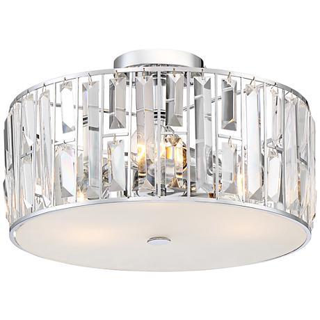 "Gem Faceted Crystal 15"" Wide Chrome Ceiling Light"