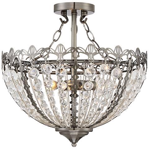"Gayle Antique Nickel 16 1/2"" Wide Crystal Ceiling Light"