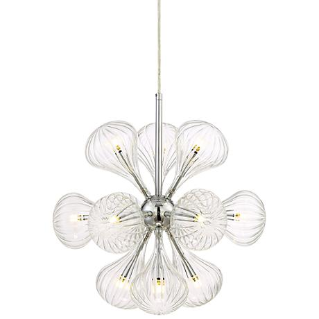 """Possini Euro Claud 17""""W LED Ribbed Glass Pendant"""