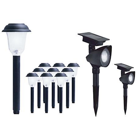 Ordaway Black 10 Path/2 Spot LED Solar Light Combo Pack