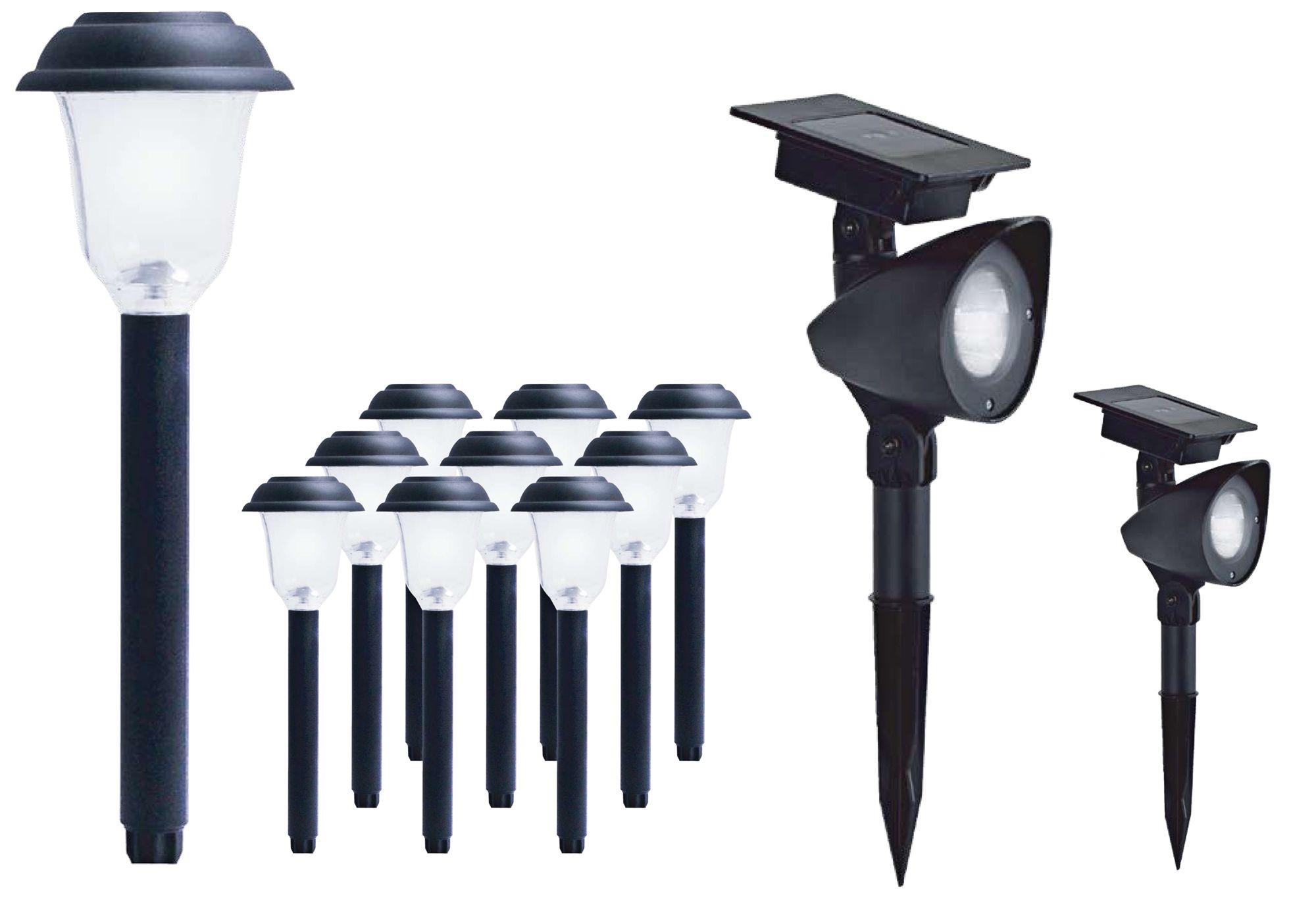 ordaway black 10 path2 spot led solar light combo pack - Landscape Lighting Kits