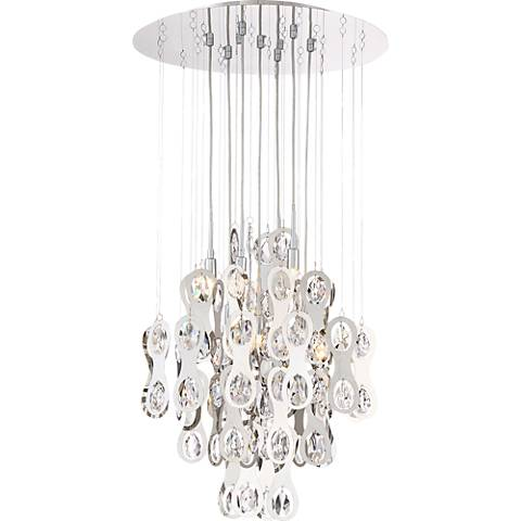 "Possini Euro Quinterra 20""W Crystal and Chrome Pendant Light"