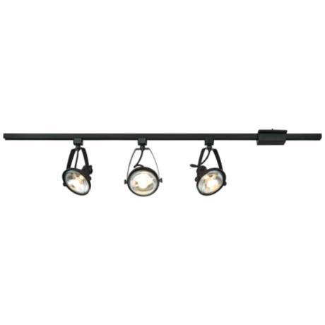 pro track ivesdale black 3 light track fixture 9j485 lamps plus. Black Bedroom Furniture Sets. Home Design Ideas