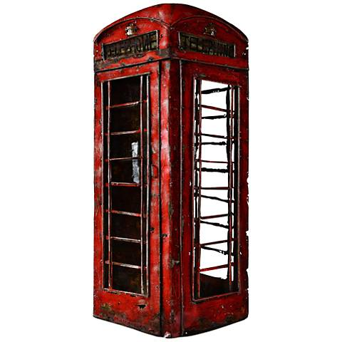 "Beckenham 36"" High Red Vintage Phone Booth Wall Art"