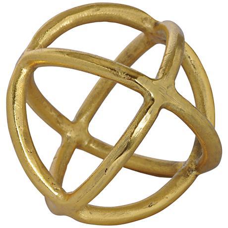 "Azimuth Gold Statue 6"" Round Metal Decorative Ball"