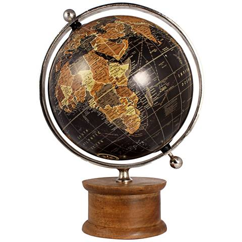 "Christopher 13"" Wide Wood and Iron Traditional Globe"