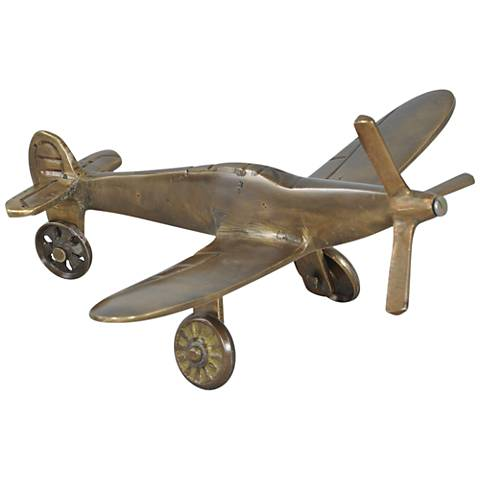 "Mustang Plane Statue 6 1/4"" Wide Solid Brass Figurine"