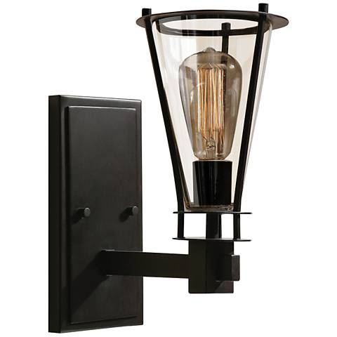 "Uttermost Frisco 6"" Wide Rustic Black Wall Sconce"