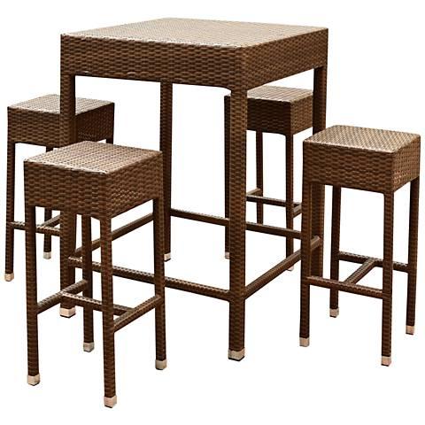 Palisades Brown Wicker 5-Piece Outdoor Bar Dining Set