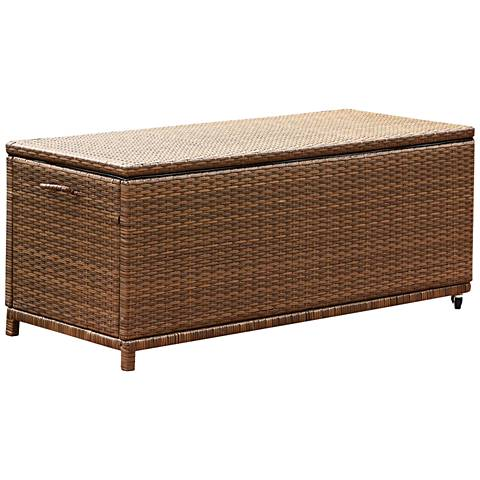 Palisades Brown Wicker Large Outdoor Storage Ottoman Bench