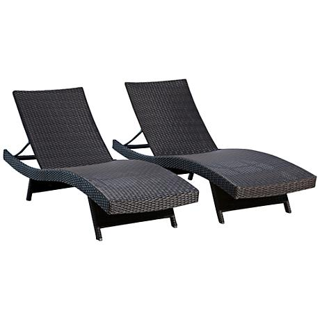 Palisades Black Wicker Outdoor Adjustable Chaise Set of 2